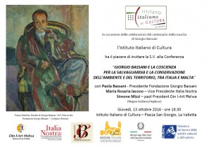 Cultural evening commemorating the 100th year since the birth of Giorgio Bassani